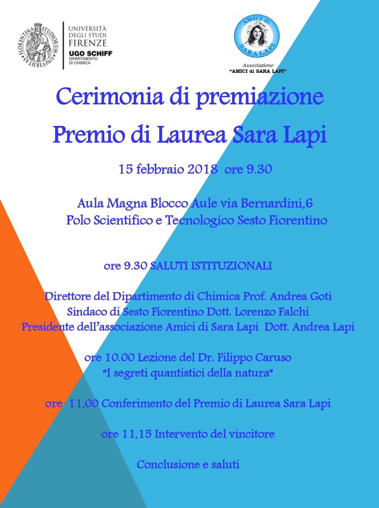 Cerimonia premio di laurea Sara Lapi